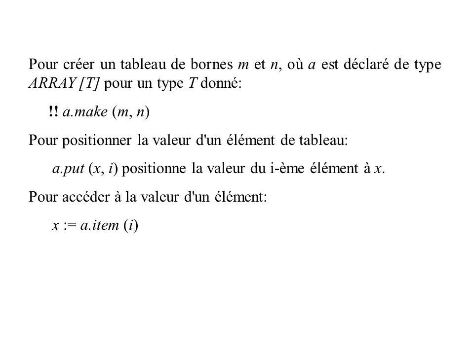 Pour créer un tableau de bornes m et n, où a est déclaré de type ARRAY [T] pour un type T donné: